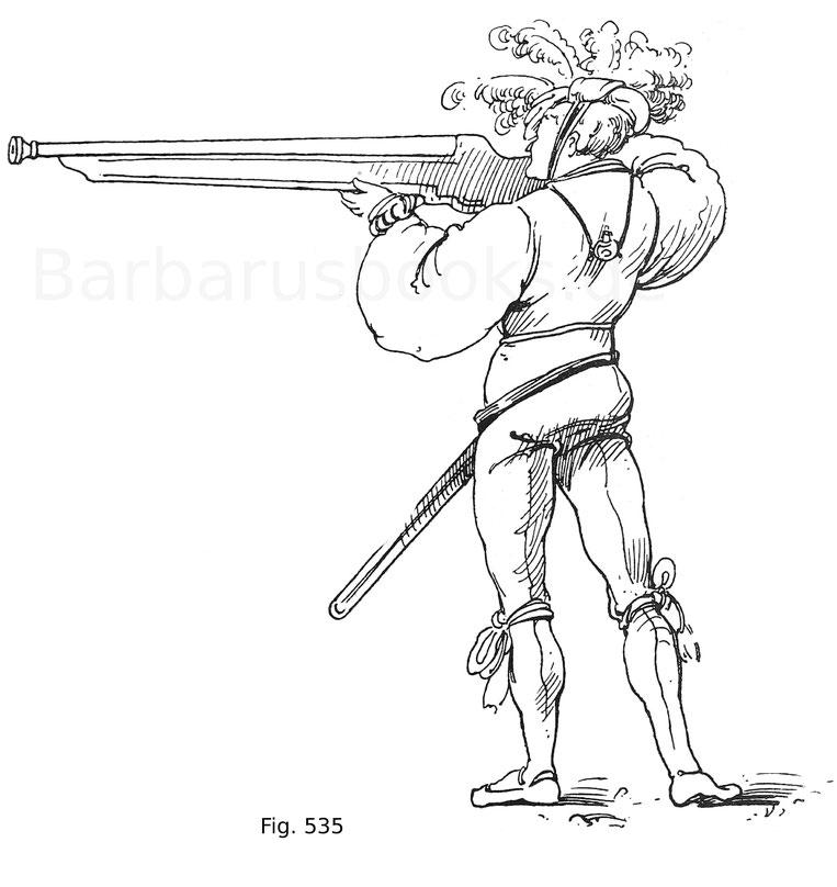 Fig. 535. Landsknecht eine Handbüchse abfeuernd. Die Flasche für das Zündkraut wird auf dem Rücken getragen. Aus den Zeugbüchern Maximilians I. Zeug Österr. Land. Um 1514.