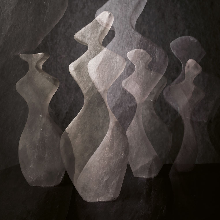 Heidrun Feistner und Jean Molitor: Bonjour Monsieur M. / Tafel 2 / Fotografik auf Aluminium nach der Skulpturengruppe