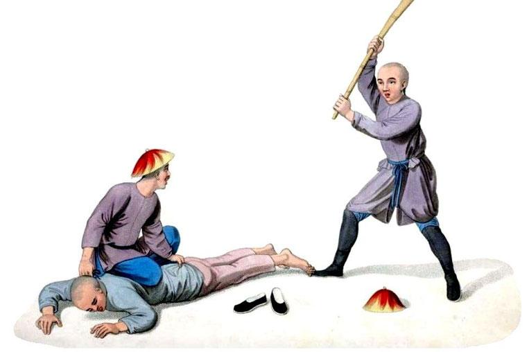 Les punitions des Chinois. Texte de George Henry Mason. Gravures de J. Dadley. G. Miller, Londres, 1801. 4. Un criminel recevant le bastonnade.