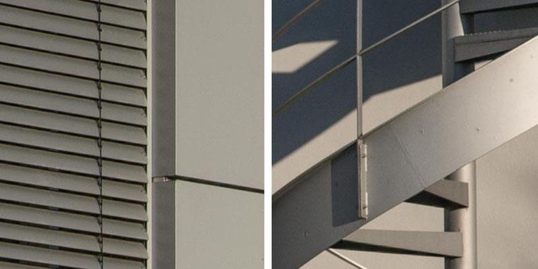 Im Test: 100%-Ausschnitte aus dem Architekturfoto mit SONY Alpha 7s2 und LEICA Elmarit-M 2,8/90 mm sowie NOVOFLEX NEX/LEM-Adapter. Foto: Klaus Schoerner