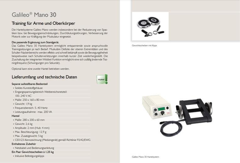 Produktdatenblatt der Galileo Vibrationshantel Mano Med 30