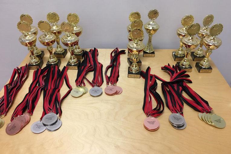 Pokale und Medaillen liegen auf einem Tisch für ein Karateturnier.