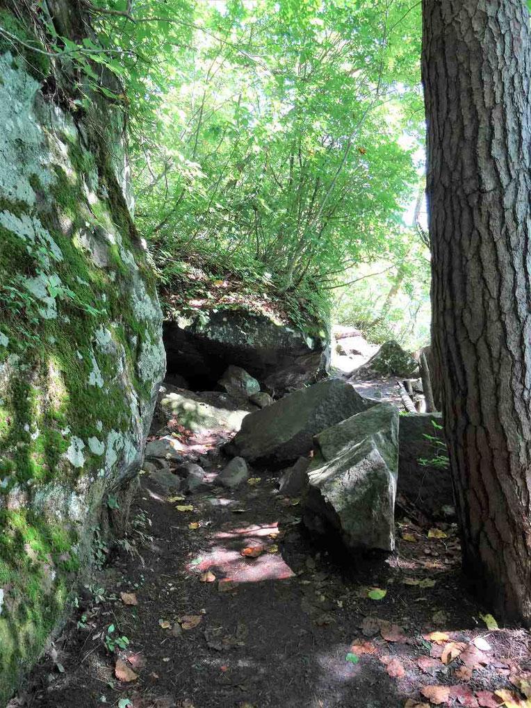 噴火で飛んできた岩石がゴツゴツと残る毘沙門沼周遊の道