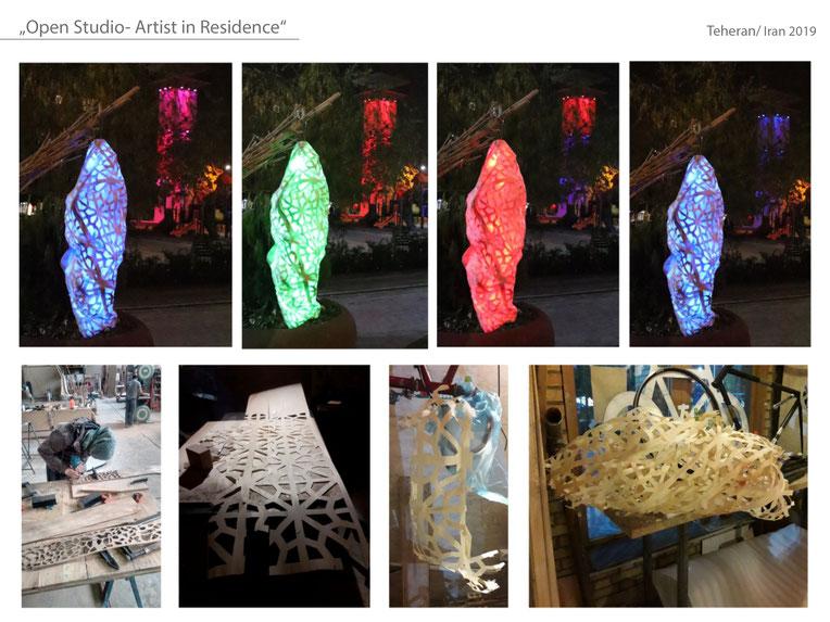 #Teheran #Katharina Mörth #Contemporaryart #Sculpture #Skulptur #Holzfunier #Lichtobjekt #2019