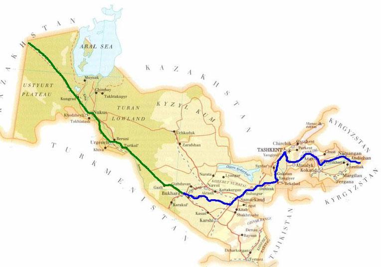 En bleu la partie effectuee a velo, en vert le trajet qu'on fera en stop/bus/train pour sortir rapidement du pays avant l'expiration de notre visa !