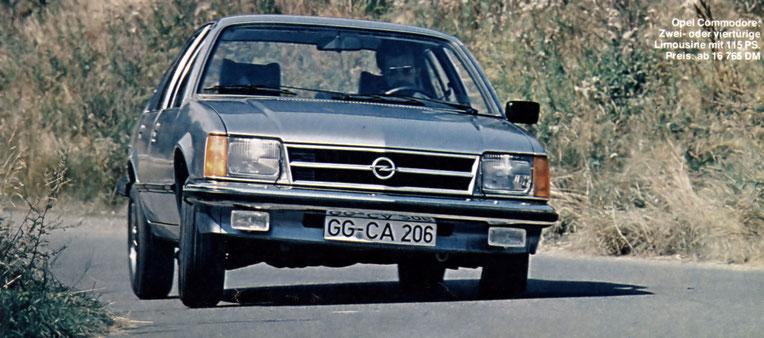 Opel Commodore: Zwei- oder Viertürige Limousine mit 115 PS. Preis: ab 16 765 DM