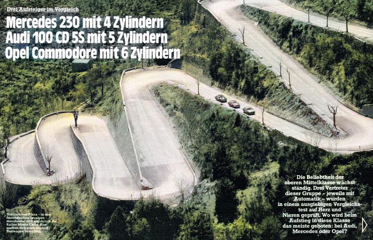 Drei Aufsteiger im Vergleich: Mercedes 230, Audi 100 CD 5S, Opel Commodore C