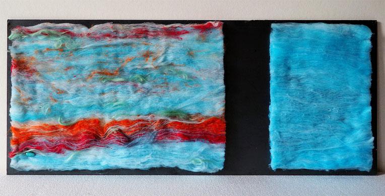 Tissage Mural - Fibres cardées, filées et tricotées à la main - Alchimagic - Wall hanging - Carded, handspun and knitted - Vegan friendly