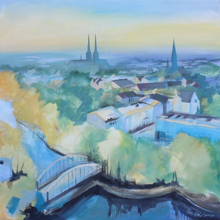 Astrid Krömer, Acryl auf Leinwand, Blick auf Lübeck, 100x100 cm, 2019 www.astrid-kroemer-malerei.de