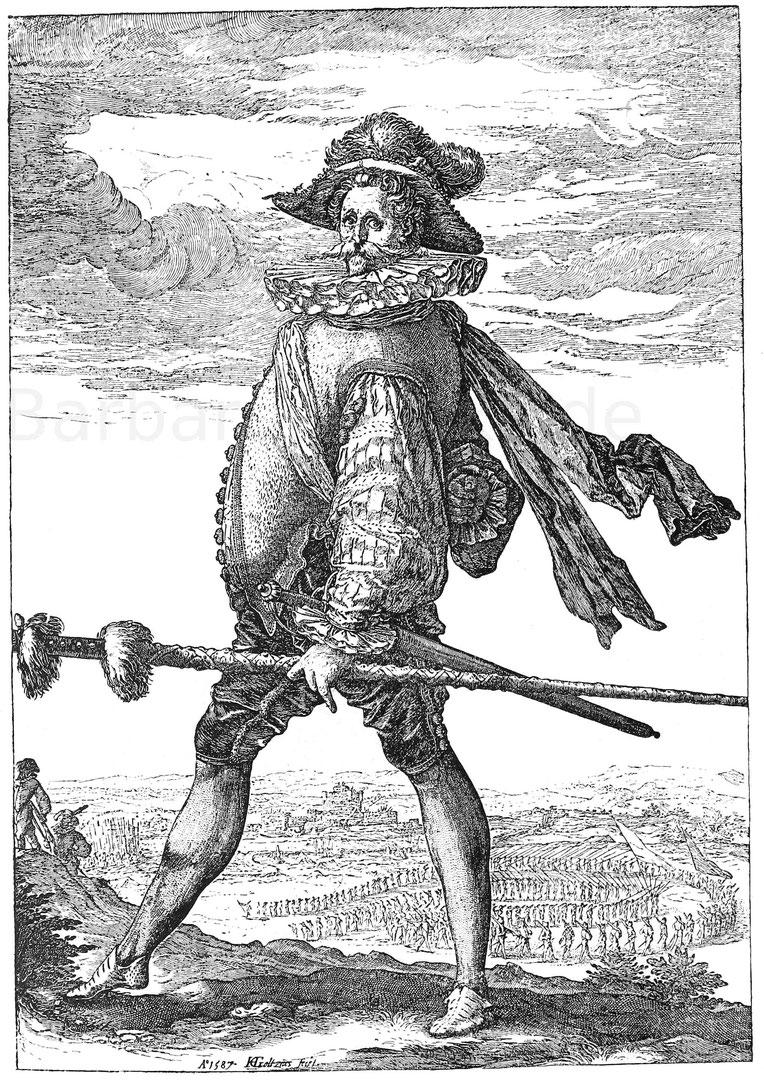 Infanteriehauptmann 1587. Kupferstich von Hendrick Goltzius. München, Kupferstichkabinett.