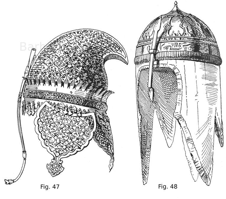 Fig. 47. Indische Sturmhaube mit durchbrochenen Metallverzierungen auf rotem Grund. Fig. 48. Tscherkessische Sturmhaube mit tauschierten Verzierungen und mit Seidenstoff überzogenem Kettengehänge.
