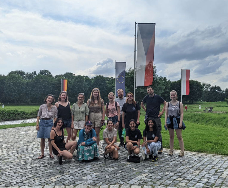 The participants of the MAZEWA/European Heritage Volunteers project at the Polish-Czech-German border