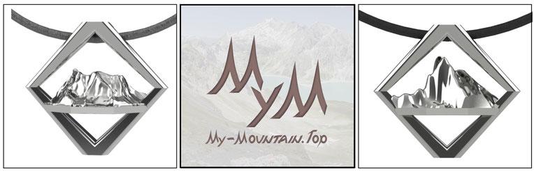 Bergschmuck Silber Kette Anhänger Mountain Erinnerung Erlebnis Sport Klettern Berg