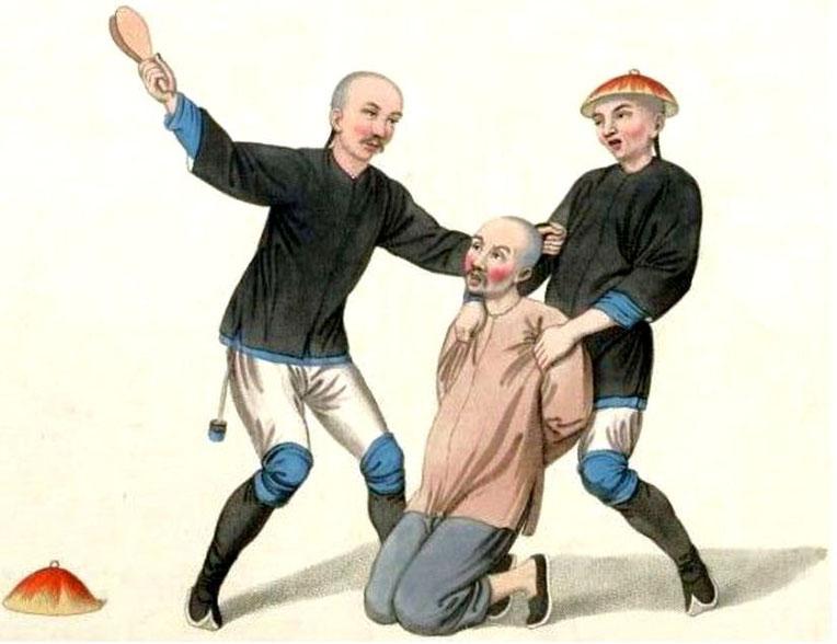 Les punitions des Chinois. Texte de George Henry Mason. Gravures de J. Dadley. G. Miller, Londres, 1801. 7. Punition d'un batelier.