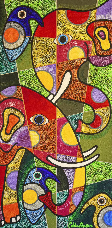"Edda Clasen, ""Elephant Tribe"", 100 x 50 cm, available."