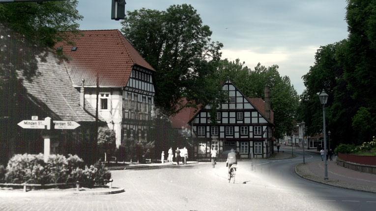 Blick auf die Sulinger Kirchenkreuzung, halb alt und halb neu.