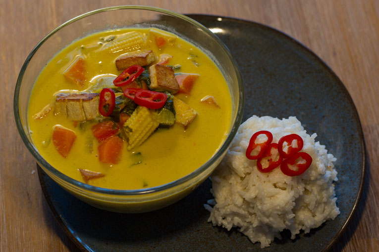 Thai yellow curry with coconut rice recipe