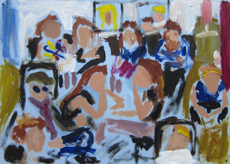 In der Corona-Zeit tragen alle Kinder, Jugendliche und Erwachsene eine Maske beim Zeichnen und Malen im Malkasten Warendorf.