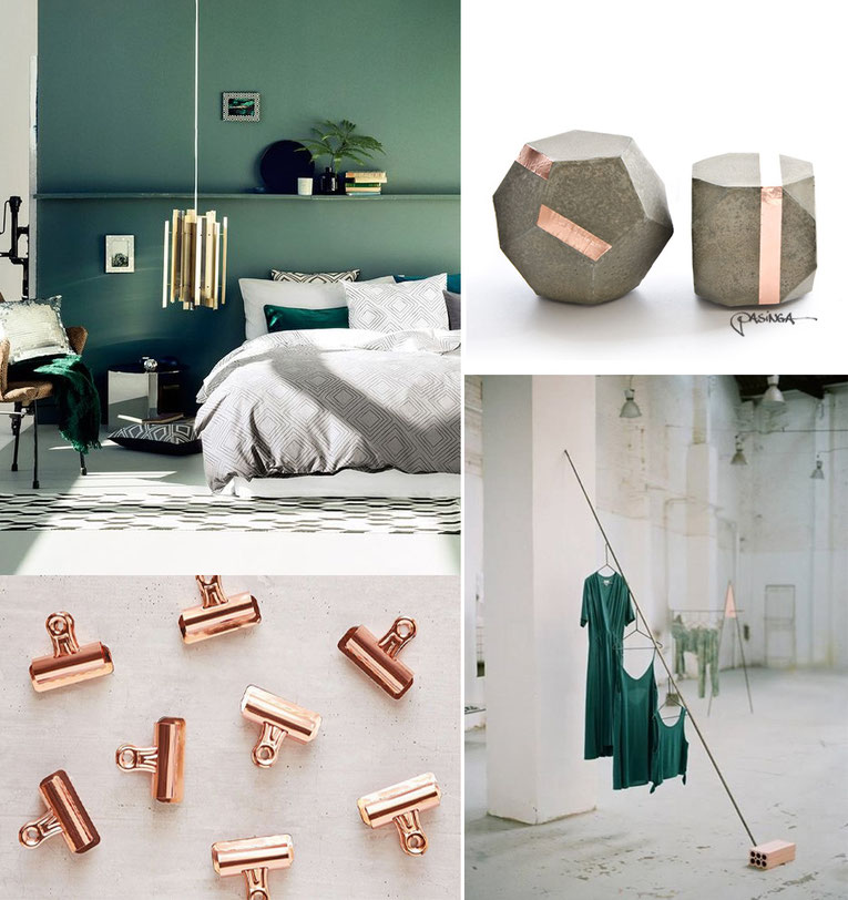 'Shiny Copper Emerald Green' Visual Board with images via Pinterest and PASiNGA