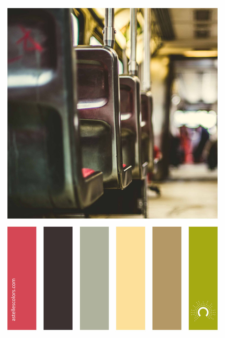color palette, color combination, color combo, Farbpalette, warm-cool color harmony: red, brown, green, yellow, beige, yellow-green, yellow-orange, orange