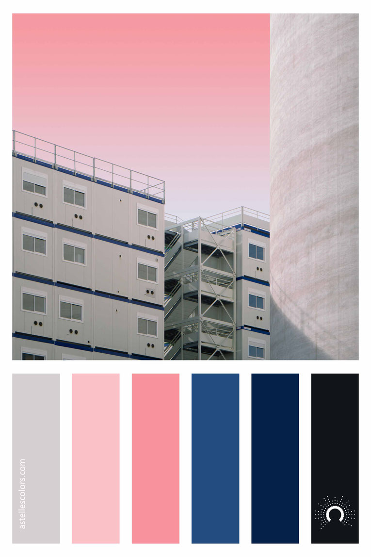 color palette, color combination, color combo, Farbpalette, warm-cool color harmony: grey, blue, red, pink