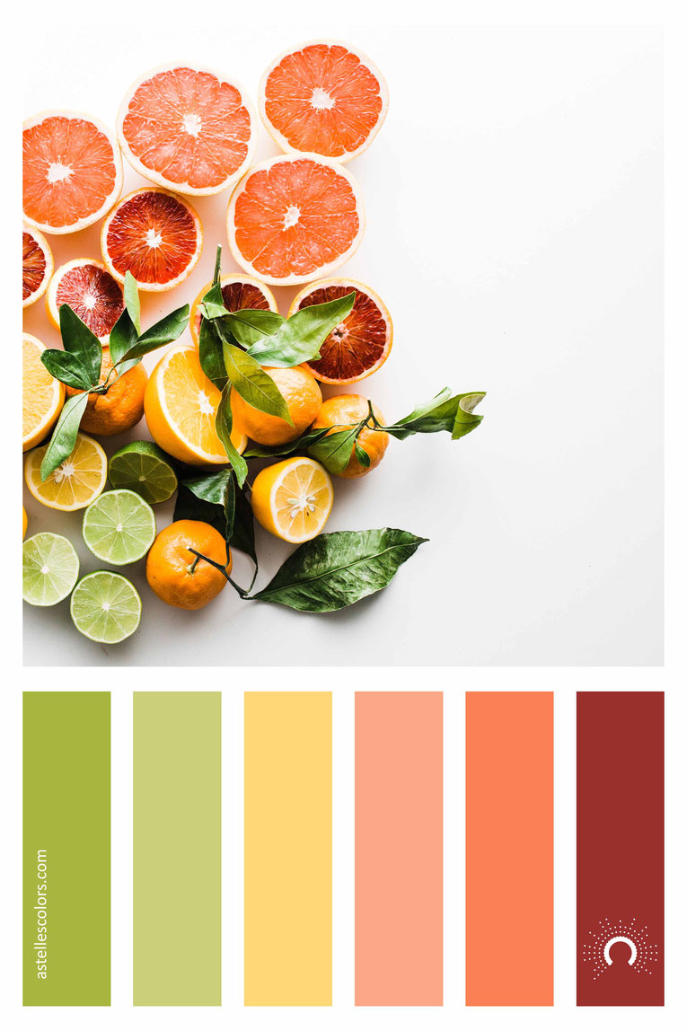 color palette, color combination, color combo, Farbpalette, warm-cool color harmony:yellow, orange, red-orange, green, yellow-green