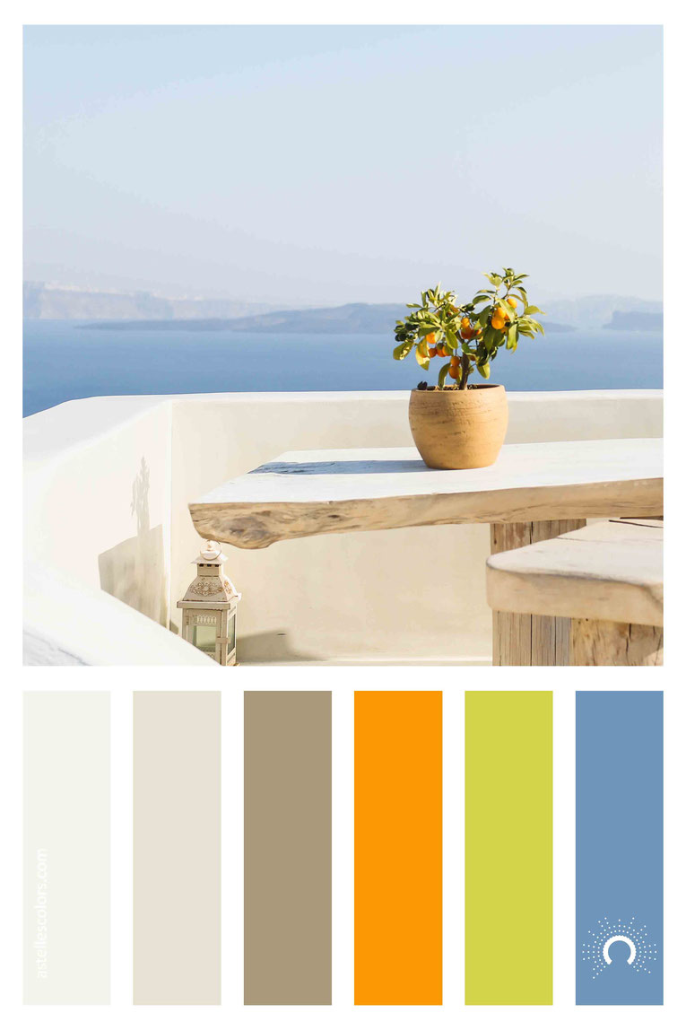 color palette, color combination, color combo, Farbpalette, warm-cool color harmony: orange, green, blue, beige, sand, brown
