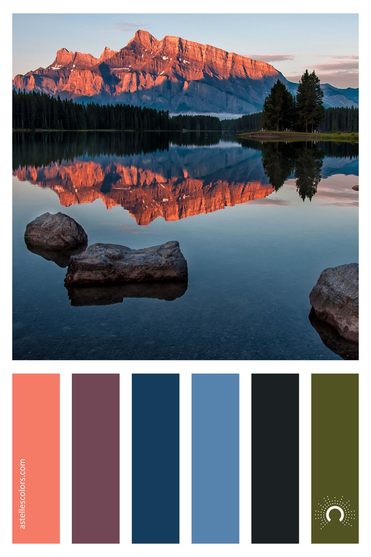 color palette, color combination, color combo, Farbpalette, warm-cool color harmony:red-orange, red-violet, violet, blue, green, grey
