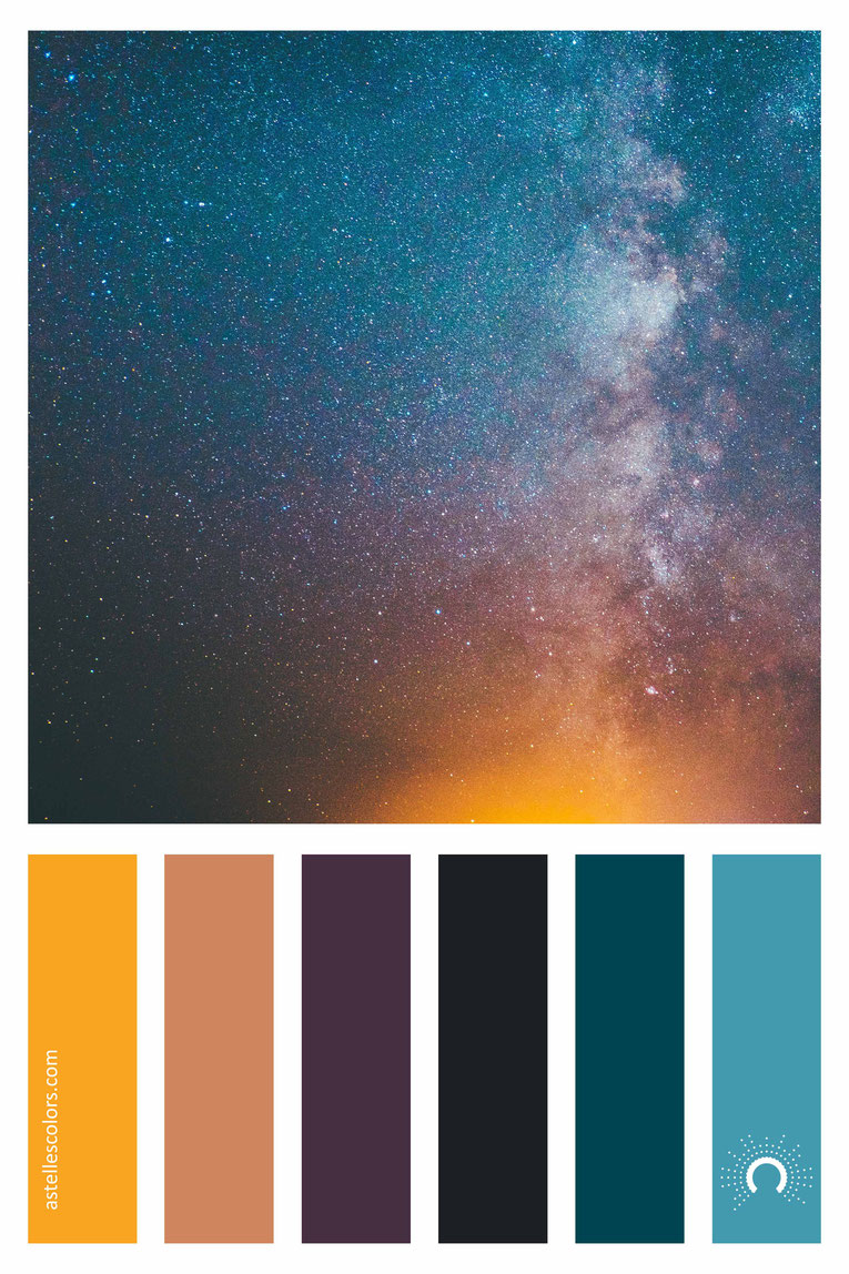 color palette, color combination, color combo, Farbpalette, warm-cool color harmony: yellow-orange, red-orange, purple, black, blue-green