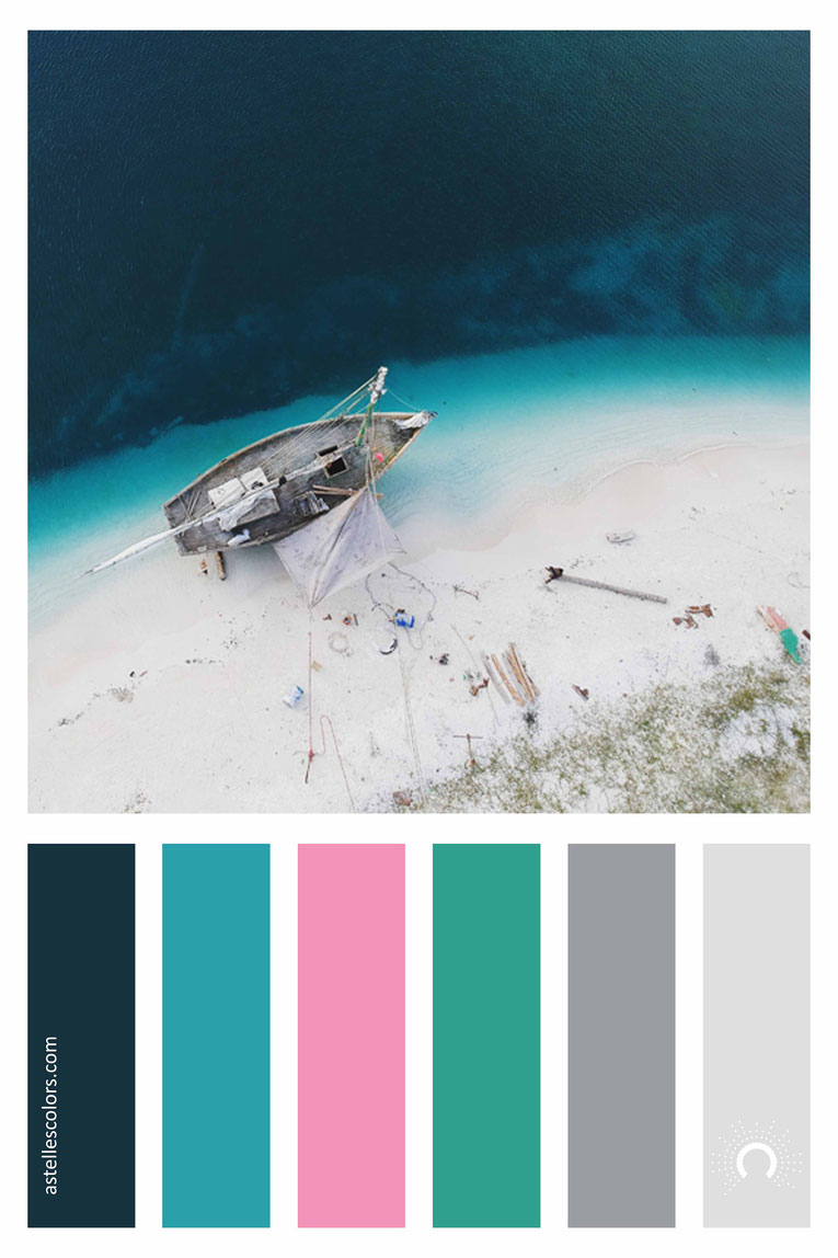 color palette, color combination, color combo, Farbpalette, warm-cool color harmony: blue, green blue, pink, red, green, grey
