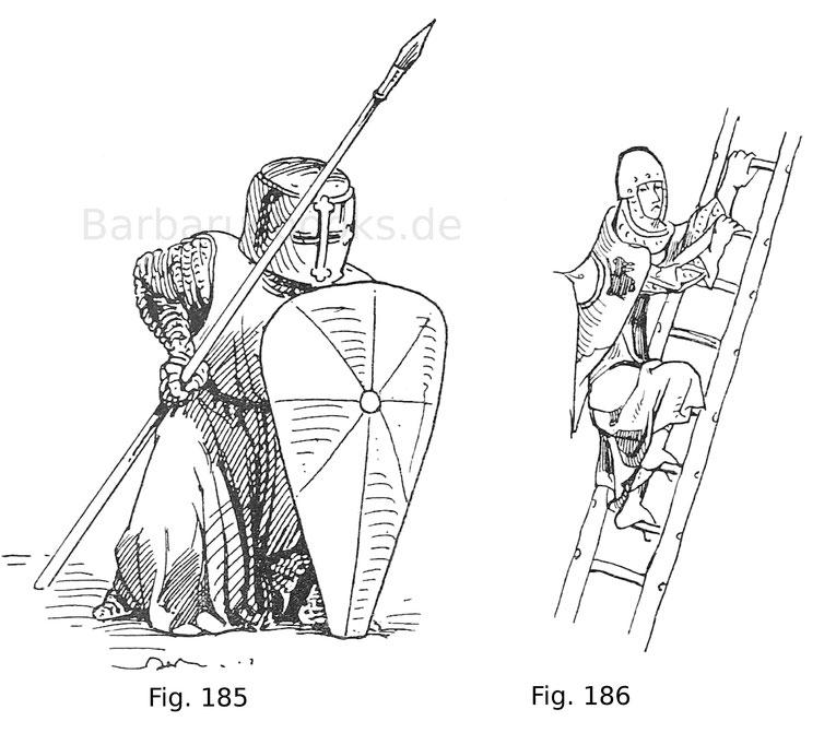 Fig. 185. Fußknecht im Topfhelm mit Spieß und Dreieckschild in der Schlachtstellung. Die Formen nach der Statue in der Kathedrale zu Reims. Französisch, um 1240. Nach Viollet-le-Duc. Fig. 186. Fußknecht, einen Wall ersteigend. Aus einer Miniatur im Codex