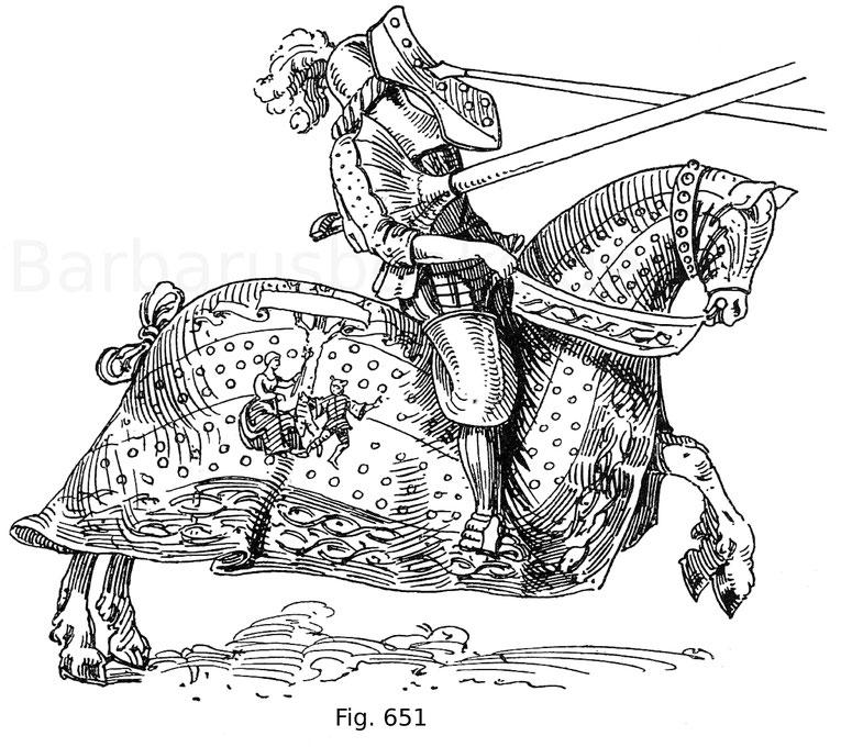 Fig. 651. Sigmund von Welsperg im Scharfrennen, gehalten am Weißen Sonntag 1497 zu Innsbruck. Aus Hans Burgkmayrs des Jüngern Turnierbuch von ca. 1554. Im Besitz des Fürsten von Hohenzollern-Sigmaringen. Nach Hefner.