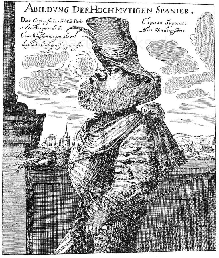 Karrikatur auf die renommistischen Spanier ca. 1700. Kupferstich. Gotha, Kupferstichkabinett.