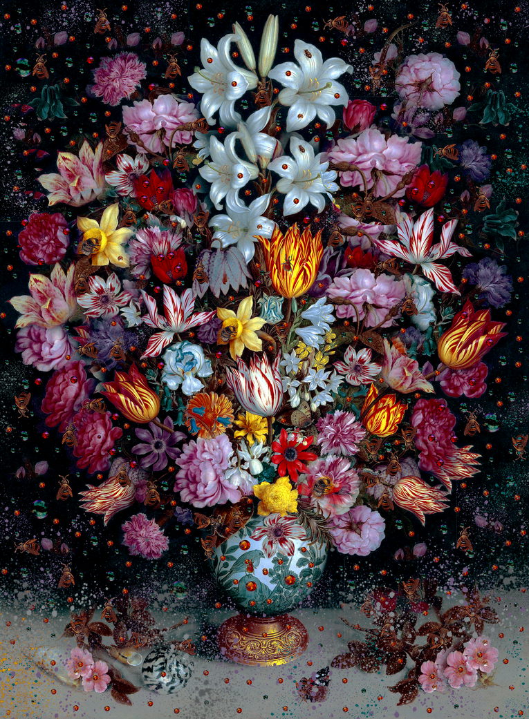"FIORI BELLI - Flowers Fireworks - MIXED MEDIA - COLLAGE ""SPRING"" AMBROSIUS BOSSCHAERT"