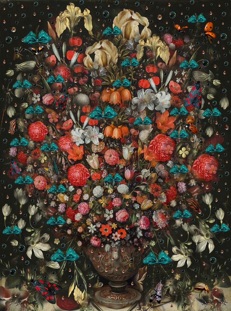 """FIORI BELLI - Flowers Fireworks - MIXED MEDIA - COLLAGE """"BRUEGHEL ARTKISS AMBROSIUS AMBROSIUS"""""""