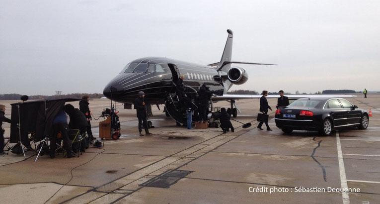 Tournage du film « La Confrérie des larmes » avec le jet privé Dassault Falcon 2000EX