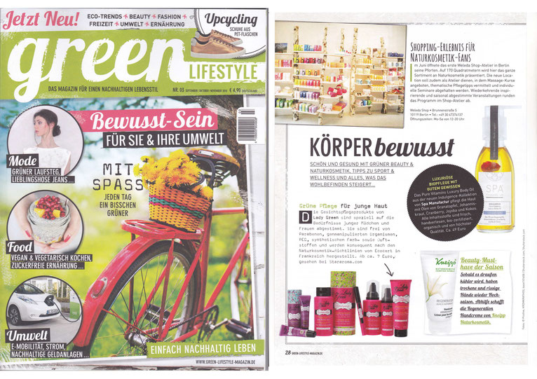 GREEN LIFESTYLE No.3 SEP/OKT/NOV2015  I  PURE VITAMINS LUXURY BODY OIL