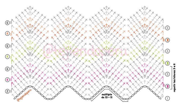 Punto de corazones zigzag con dos caras tejido a crochet