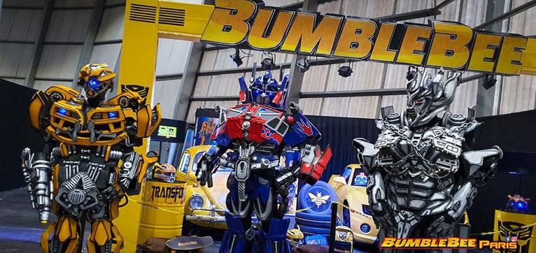les robots transformers bumblebee , optimus prime et megatron pour vos animations  , animation transformers , robot transformers , mascotte transformers