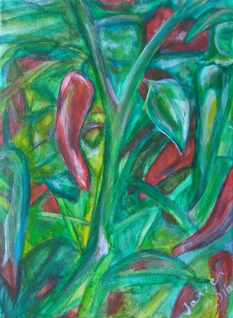 """""""Chillie"""", Acryl auf Leinwand 2016–18x24 cm, Preis: Fragen Sie nach"""