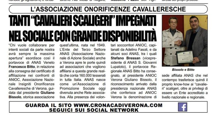 Dal quoridiano La Cronaca di Verona del 29/11/2019