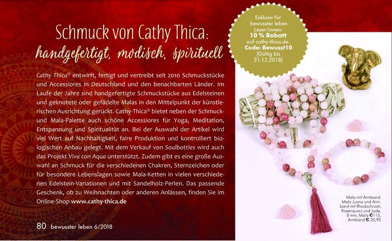 Presse Artikel Magazin Bewusst Leben über Cathy Thica