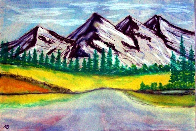 Bergsee, Pastellgemälde, Berge, Schnee, Hügel, Bäume, Wald, See, Wiese, Natur, Pastellmalerei, Landschaftsbild, Pastellbild, 3d Keilrahmen