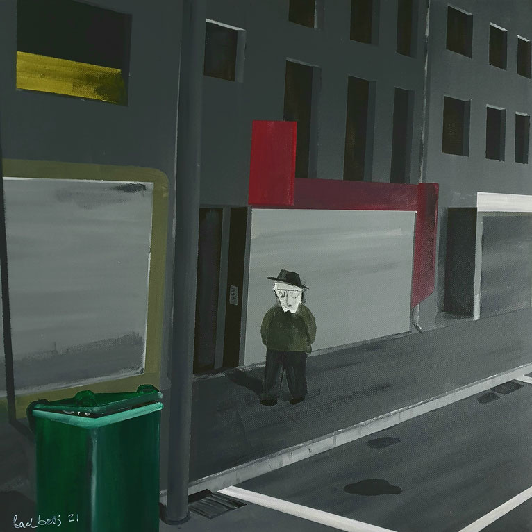 gemaltes Bild mit einem einsamen Mann in einer dunklen Strasse