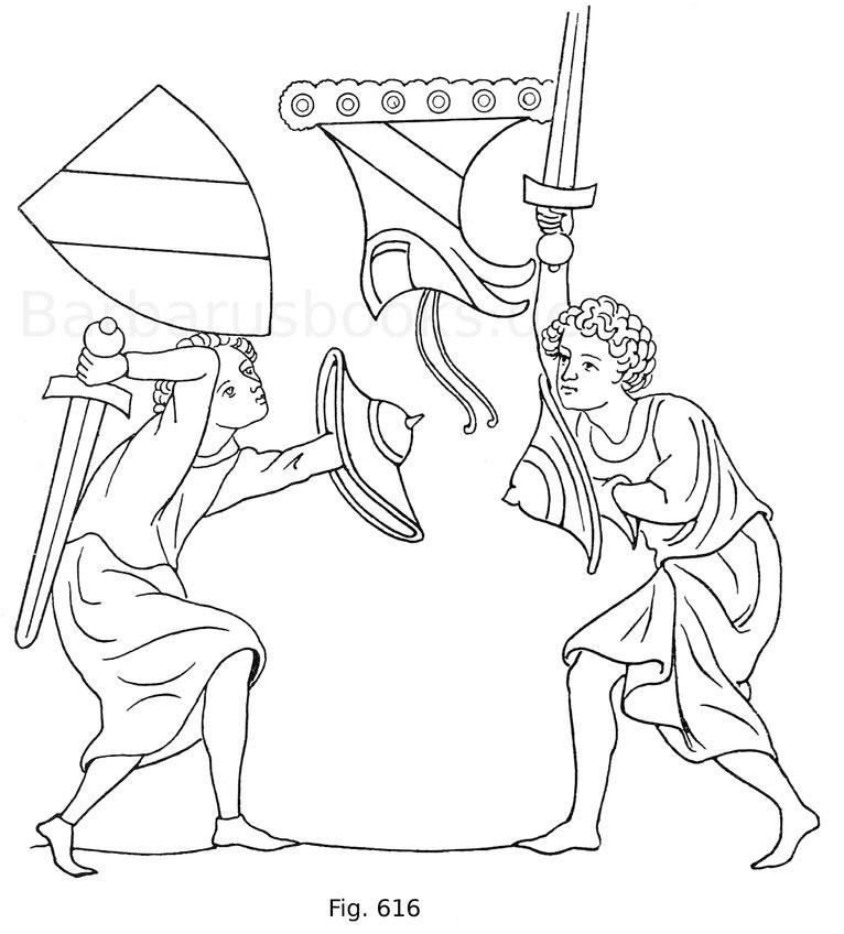 Fig. 616. Der Minnesänger Wilhelm von Scharfenberg kämpfend. Aus der Manessischen Bilderhandschrift. Um 1300. Nach Eye, Kunst und Leben der Vorzeit.