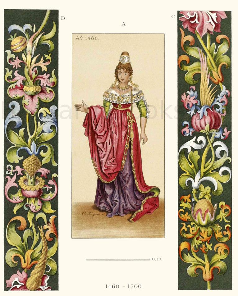 Frauentracht und Ornamente aus der zweiten Hälfte des 15. Jahrhunderts.