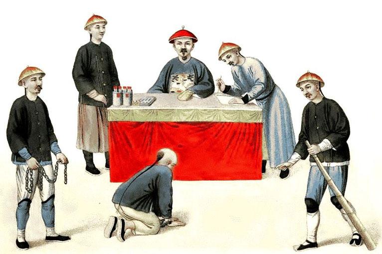 Les punitions des Chinois. Texte de George Henry Mason. Gravures de J. Dadley. G. Miller, Londres, 1801. 1. Un accusé devant un magistrat.