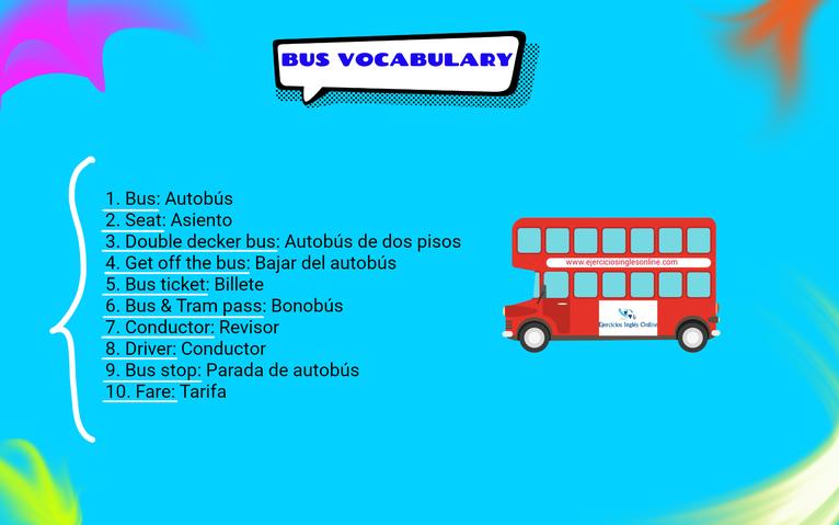 Vocabulario de autobús en inglés.