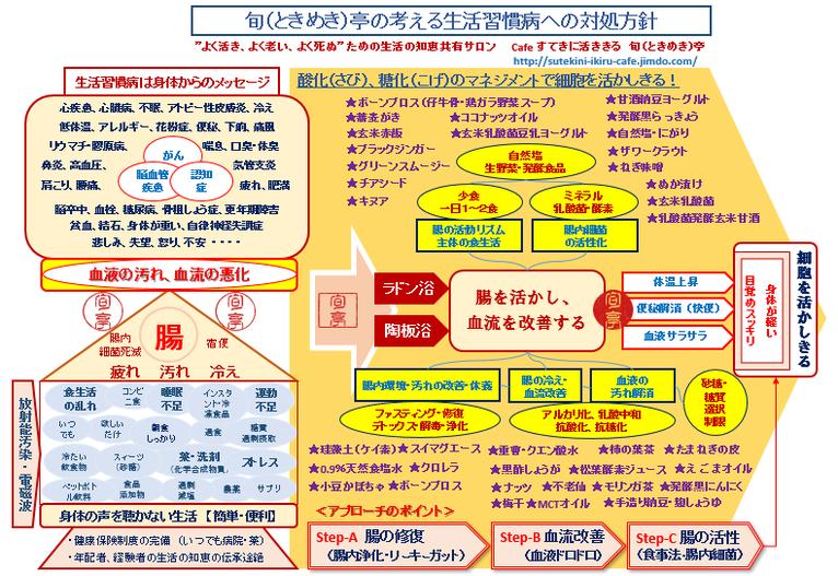 旬(ときめき)亭の考える ガンに代表される生活習慣病への対処法 ・腸の活動がしっかりしてくるので、便秘なども解消します。 ・044-955-3061  tokimeki@terra.dti.ne.jp