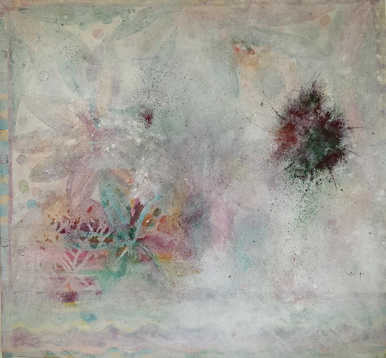 Artigkeit, Claudia Karrasch, Bonn, Malerei, Kunst, Abstrakt, Gegenstandslos, intuitiv, Behind the Glaze, Leinwand, 100 X 100 cm